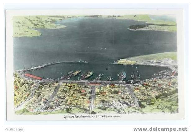 RPPC Air View Lyttleton Port Christchurch, New Zealand  Standard size real photo