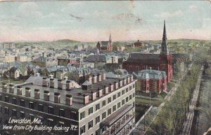 Maine Lewiston View From City Building Looking 1909