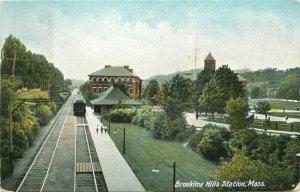 Massachusetts Brookline Hills Station Leighton undivided 1906 Postcard 21-10149