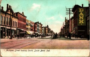 Vtg Postcard 1900s UDB South Bend, Indiana IN Michigan Street Looking South Dirt