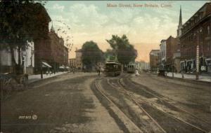 New Britain CT Main St. Trolleys c1910 Postcard