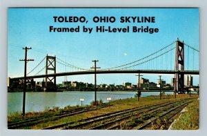 Toledo OH, The Anthony Wayne High Level Bridge, Chrome Ohio Postcard