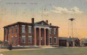 Great Bend Kansas City Hall Exterior View Antique Postcard J70872