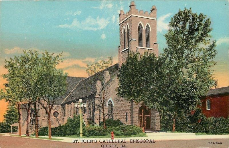 Quincy Illinois~St John's Episcopal Cathedral~1930s Linen Postcard