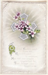 Fancy Easter postcard padded pale grey with a silver cross and flowers Border.
