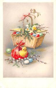 Easter Eggs Basket, Chicken, narcissus flowers, mistletoes