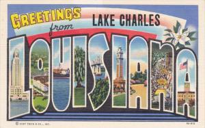 Large Letter Greetings , LOUISIANA w/ Lake Charles Overprint , 30-40s