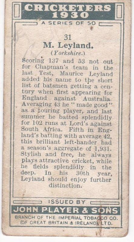 Cigarette Cards Player's Cricketers 1930 No 31 - M Leyland