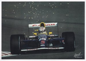 Nigel Mansell Williams Formula 1 Victory Grand Prix Rare Postcard