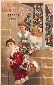 Frohliche Weihnachten Santa Claus Hold To Light Unused very minimal wear on c...