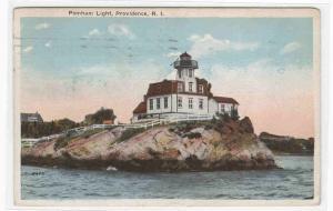 Pomham Lighthouse Providence Rhode Island 1926 postcard