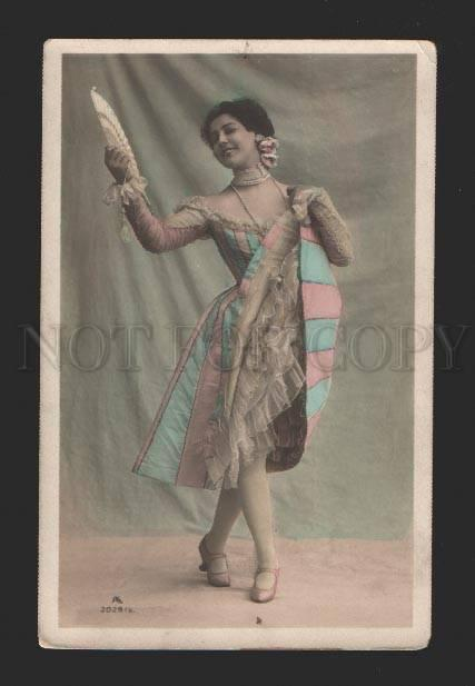 078632 Tinted BALLET Star DANCER w/ FAN Vintage PHOTO PC