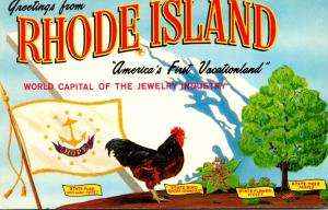 Rhode Island Greetings Showing State Flag Bird Flower and Tree