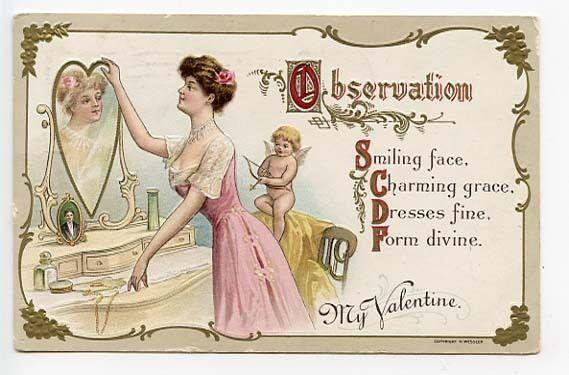 Valentine's Day Observation Cupid My Valentine #522 Embossed Postcard
