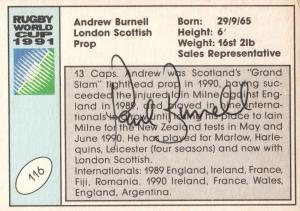 Andrew Burnell Scotland Hand Signed Rugby 1991 World Cup Card Photo