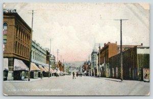 Pendleton Oregon~Main Street~Beer on Corner~St Elmo Rooms~Horse Wagon~c1910