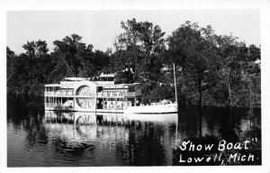 Lowell Michigan~Show Boat Robert E Lee on Grand River~1946 RPPC-Postcard