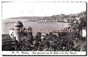 Old Postcard Menton General view of the city and Cap Martin