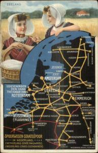 Detailed Map Holland Netherlands RR Train Route Native Women Zeeland Postcard