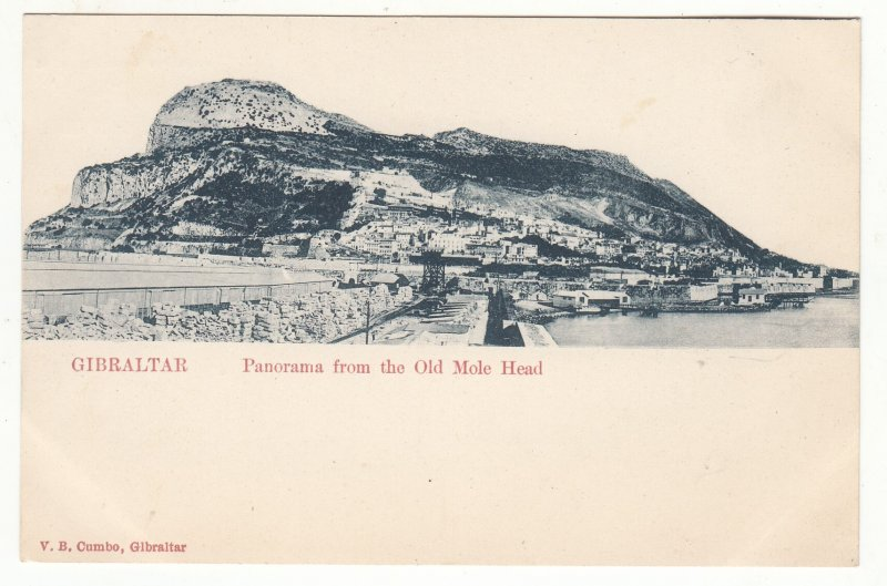 P1869 old gibraltar postcard panorama view village from the old mole head