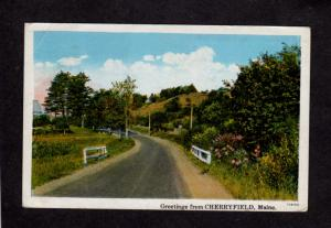 ME Greetings From Cherryfield Maine Vintage Postcard 1929