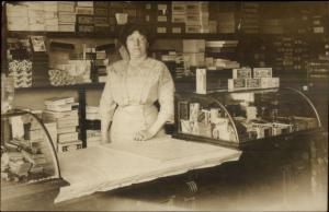 Woman Store Clerk Tailor Shop? Counter Boxes c1910 Real Photo Postcard dcn