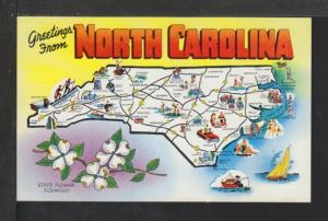 Greetings From North Carolina,Map Postcard