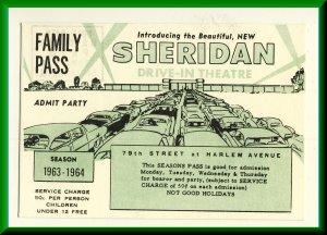 1963-64 Sheridan Drive-In Theatre Family Pass-Postcard, Bridgeview, Illinois/IL