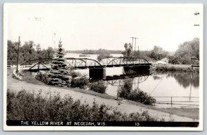 Necedah Wisconsin~Car on Yellow River Bridge~Twin Span Pony Thru Truss~1949 RPPC