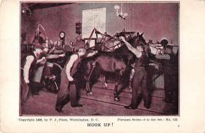 Firemen Steam Fire Engine Hooking up Horse Vintage Postcard JE229078