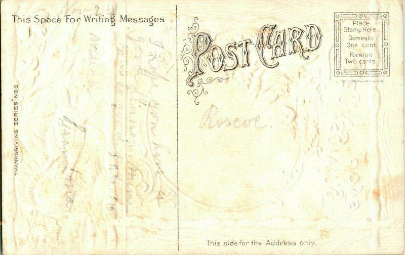 Vtg Carte Postale - Thanksgiving Joys Dindes Doré & en Relief Unp