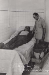 Abano Terme Old Italian Hospital Sick Ill Man Nurse d In Bed Real Photo Postcard