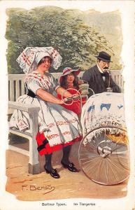 Signed F. Bersch Germany Berliner Typen Im Tiergarien Carriage Postcard
