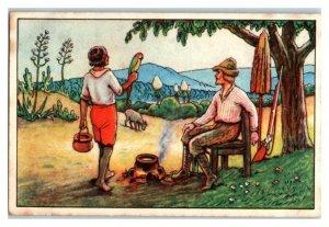 Servant Friday Arrives, Robinson Crusoe, Echte Wagner German Trade Card *VT31P