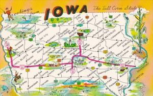Greetings From Iowa With Map 1968