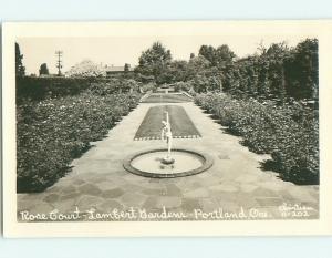 Old rppc ROSE FLOWER COURT AT LAMBERT GARDENS Portland Oregon OR v5134