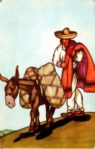 Mexico Typical Scene Man With Burro