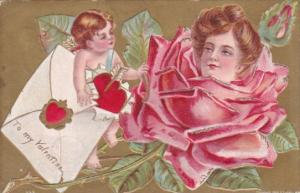 Valentine's Day Cupid With Beaautiful Rose With Lady's Face 1909