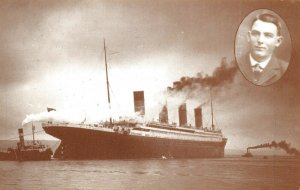 Postcard RMS Titanic and 3rd Class Passenger Jeremiah Burge County Cork 79Y