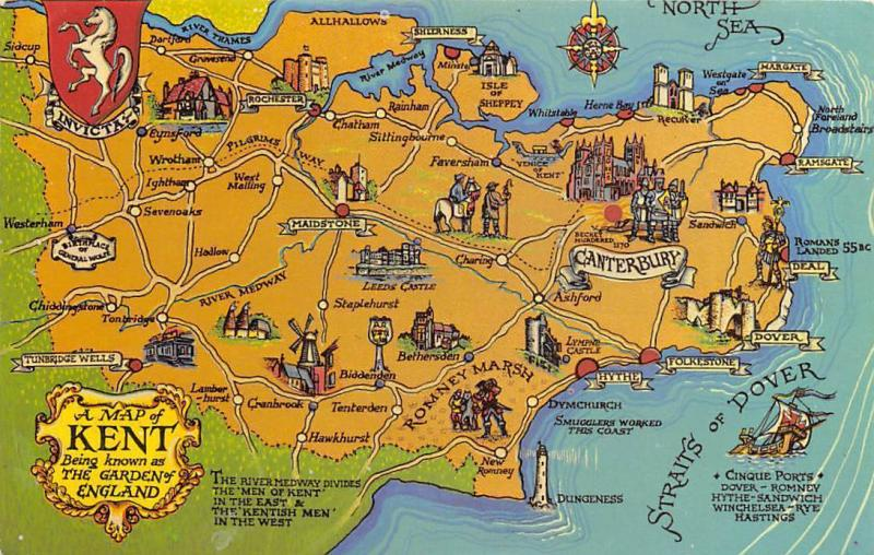 Map Of England Dover.Kent Map Known As The Garden Of England Straits Of Dover