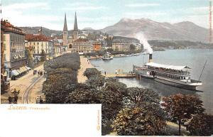 Switzerland Old Vintage Antique Post Card Luzern Promenade Writing on back