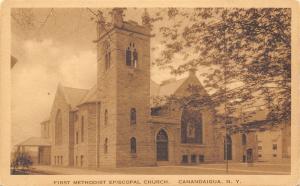 Canandaigua New York~First ME Church~MacGreevey-Sleght-DeGraff Co~1920s Sepia PC