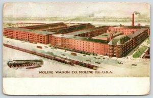 Moline Illinois~Moline Wagon Co~Birdseye View~Trains in Foreground~1910