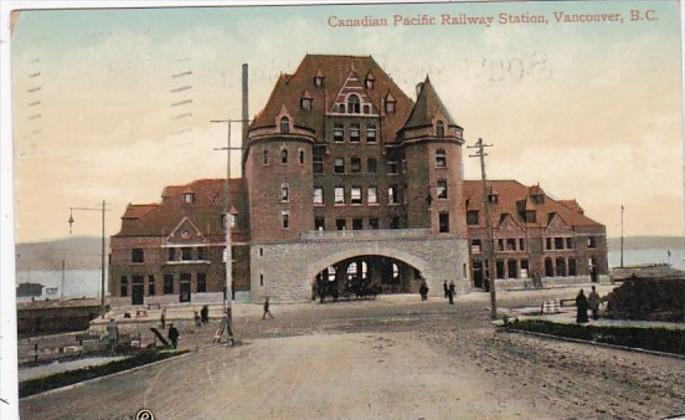 Canada Vancouver Canadian Pacific Railway Station 1909