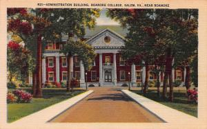 Administration Bldg., Roanoke College, Salem, VA, Early Linen Postcard, Unused