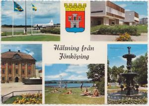 Halsning fran Jonkoping, Sweden, multi view, unused Postcard