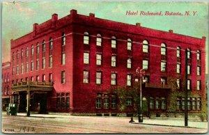 Batavia, New York Postcard HOTEL RICHMOND Street View Dated 1912 on Front
