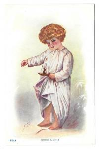 Good Night Artist Signed Child in Nightshirt Candlestick