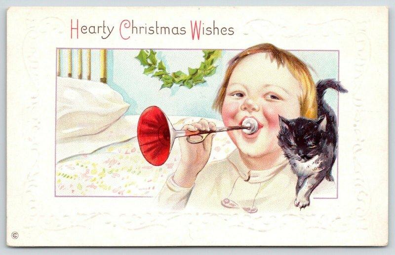 Christmas Kitty Cat~Boy Blows Horn~Black Kitten~4 Poster Bed~Emboss~Stecher 338C