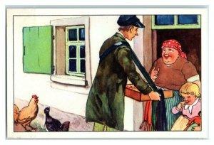 Farmer Wife Invites Man Inside, The Long Winter, Echte Wagner German Trade Card